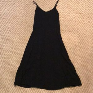 Black spaghetti strap fit n flare dress